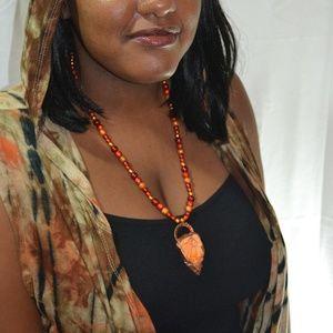 TVD Orange Howlite Beaded Necklace & Earrings
